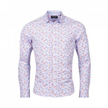 Chemise Teddy Smith Carton - Blanc/Fleur Bleu Blanc Rouge