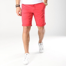 Short Teddy Smith Chino Stretch - Rouge title=