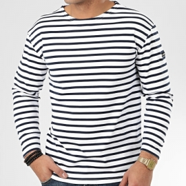 Tee Shirt Manches Longues Teddy Smith Ocean - Bleu Marine Blanc