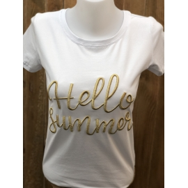 T-shirt femme message Hello Summer title=