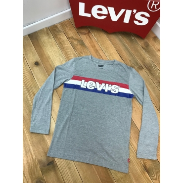Levis tee shirt ML - gris, logo bleu blanc rouge