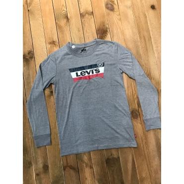 Levis garçon tee shirt ML - gris, logo tricolore