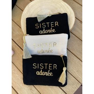 "Pochette gaze de coton ""sister adorée"""