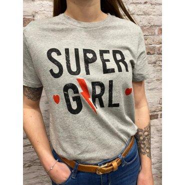 T-shirt super girl gris