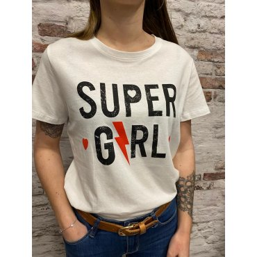 T-shirt Super Girl blanc