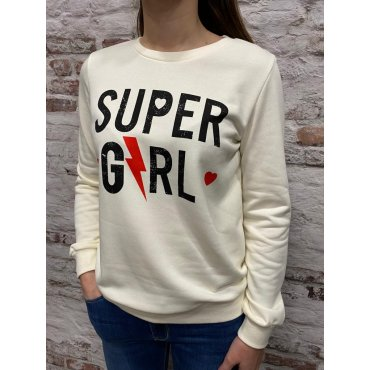 Sweat Super Girl blanc cassé
