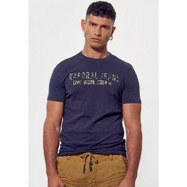 T-shirt rage Kaporal bleu imprimé camouflage