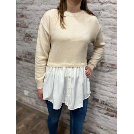 Pull chemise Dany beige/blanc