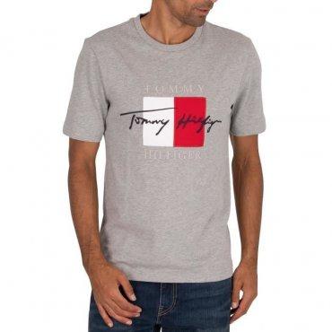 T-shit Tommy Hilfiger Box signature gris