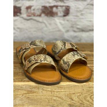 Sandales plates effet python sable à boucles